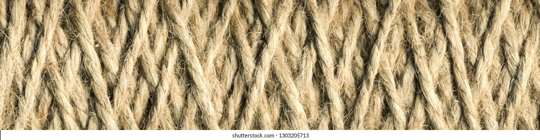 abstract panorama background,  skein of jute thread texture. micro shot of a coil of jute twine, Natural jute twine for handicraft.