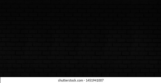Abstract panoramic black brick wall pattern background and black backdrop, Blank copy space.