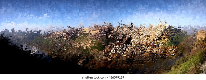 abstract panoramic of the city of Toledo, Spain,  Castilla La Mancha,abstract photography, abstract composition abstract landscape, tribute to Pollock,Picasso, Miró,  abstract expressionism, graphic,