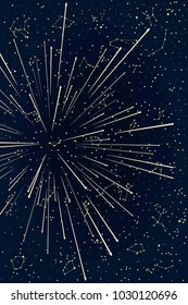 The Abstract Panoramic Sky Map of Hemisphere with a Meteor Stream or Fireworks. Constellations on a Night Dark Background. Raster Illustration