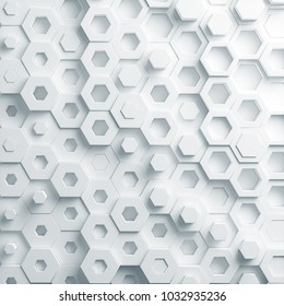 abstract paper hexagon 3d-render background.