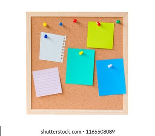 abstract paper note pin on cork board. Blank notes for add text message or design website. wood frame board.