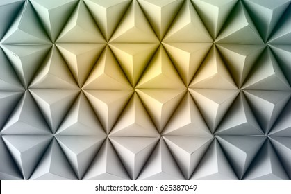 Abstract  paper poly  made from  tetrahedron background. Yellow
