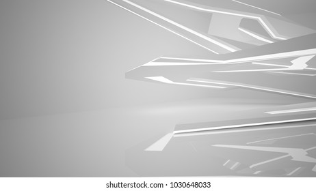 Abstract parametric white interior with neon lighting. 3D illustration and rendering.