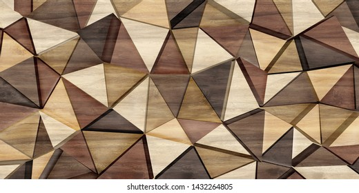 Abstract parquet floor with rumpled futuristic triangular geometric surface and wooden 3d background