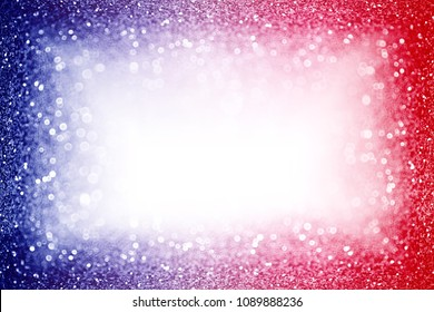 Abstract patriotic red white and blue glitter sparkle background for party invite, July fireworks border, memorial design, elect president vote, sale space, labor day and celebrate independence frame