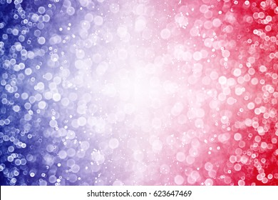 Abstract patriotic red white and blue glitter sparkle explosion background or border