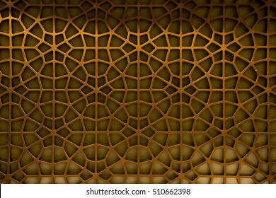 Abstract Pattern Background Oriental Oman wood carving