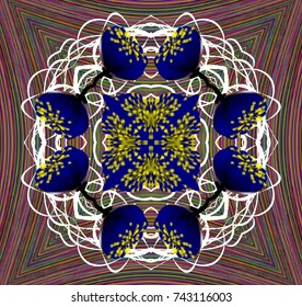 An abstract pattern with fantasy flowers. Color openwork ornament with blue flowers on a background of multicolored thin lines.