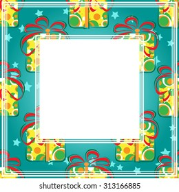 Abstract pattern with gift boxes on a blue background.