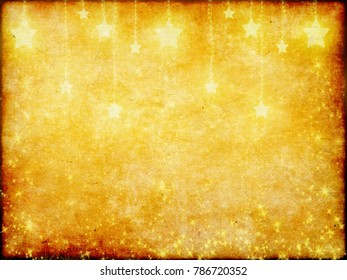 Abstract pattern of random falling golden stars on paper background. Elegant pattern for banner, greeting card, Christmas and New Year card, invitation, postcard, paper packaging