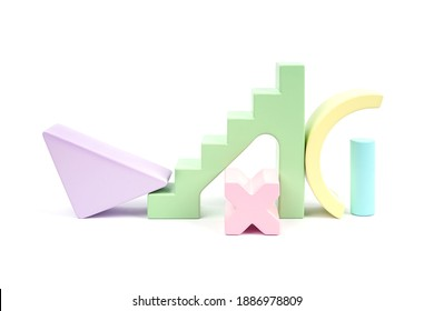 Abstract pattern with wooden figures. Children's wooden construction kit. Yellow, green, lilac, pink and blue details of a wooden construction kit. Toys made of natural material.