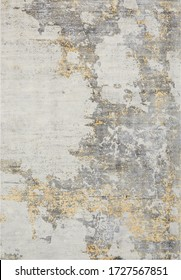 Abstract patterned modern rug texture in ivory gold
