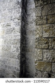 Abstract patterns in brick wall alcove
