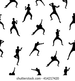 Abstract people silhouette, seamless pattern with fighter on the white background, sport subject illustration perfect for cover design