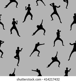 Abstract people silhouette, seamless pattern with fighter on the gray background, sport subject illustration perfect for cover design
