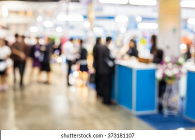 Abstract people standing watch exhibition blurred background