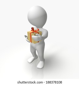 An abstract person with a gift pack holding in hands.