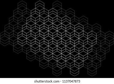 Abstract perspective hexagonal composition