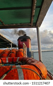 abstract perspective of safety equipment on a ship and its funnel