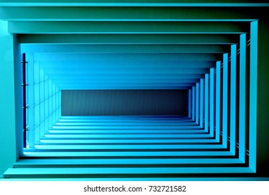 Abstract perspective view of geometric ceiling with strong symmetry