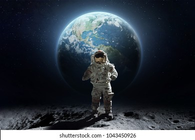 Abstract photo art with astronaut on the Moon surface against Earth on the background, Exploring space and other planets. Elements of this image furnished by NASA