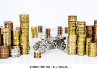 Abstract photo of car price rising. Car model isolated on white background with a lot of euro coins.