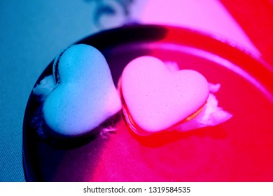 Abstract photo with cookies in the form of hearts to photograph close-up