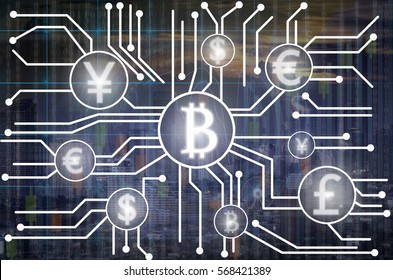 Abstract photo of FINTECH connection over the Trading graph on the cityscape at night background,Business financial concept,Showing the cryptocurrency or digital money