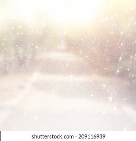 abstract photo of light burst among trees and glitter bokeh. image is blurred and filtered .