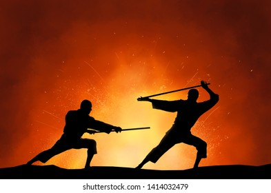 Abstract photo of men silhouette demonstrating martial arts fighting in front of sunset sky