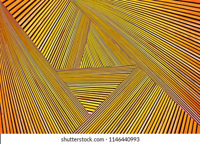 Abstract photo montage of yellow orange timber. Converging lines of planks.