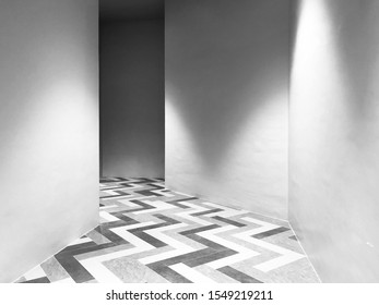 Abstract photo of the way with line patterns on the floor (black and white tone)