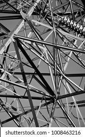 An abstract photograph of an electricity pylon