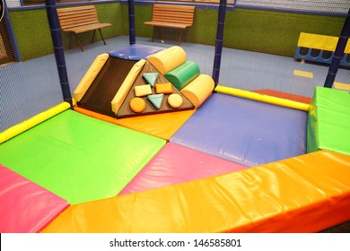 Abstract photograph featuring childrens play equipment at a fast food restaurant