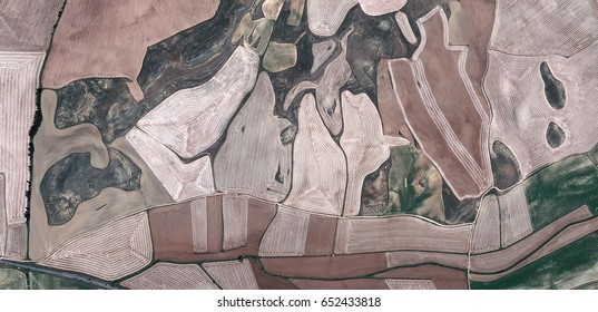 Abstract photograph of fields of Spain from the air, Abstract Naturalism, Spain fields from the air, abstract expressionism, photography, landscape, abstract surrealism,