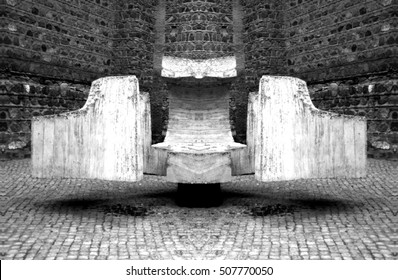abstract photography, abstract composition,Meeting point J Eduardo Chillida sculpture in the Plaza de Fernando VI of Toledo, Spain, ironwork and concrete,