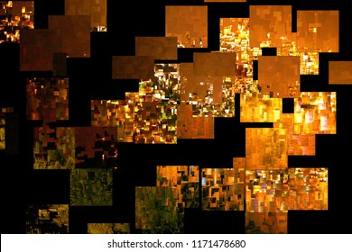 Abstract photography with cubist effects,art  digital, abstract, mosaic effects, black background,