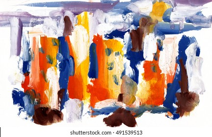 Abstract picture painted colors. City landscape with houses. Children's drawing. Modern Art, impressionism