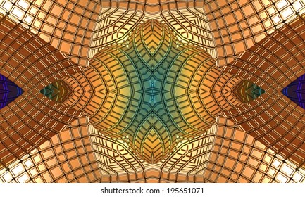 Abstract picture, weaving of rays and lines