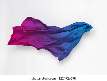 abstract piece of multicolored fabric flying, high-speed studio shot