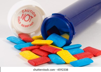 abstract of pill bottle and candy