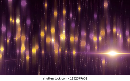 Abstract pink bokeh circles on a black background. Glamour illustration with particles and rays.
