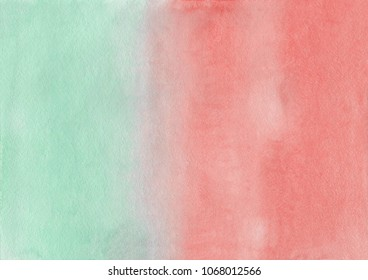 Abstract pink and green watercolor hand painted background. Texture gradient.