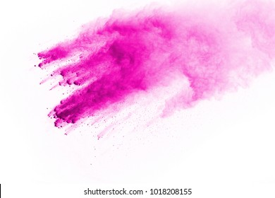 abstract pink powder splatted background,Freeze motion of color powder exploding/throwing color powder,color glitter texture on white background