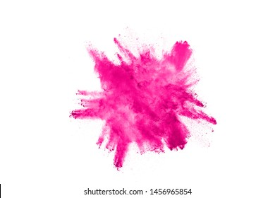 Abstract pink powder splatted background,Freeze motion of color powder exploding/throwing color powder,color glitter texture on white background.