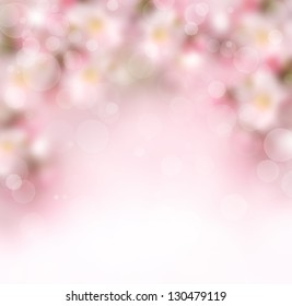 Abstract pink spring blossom background with blurred flowers
