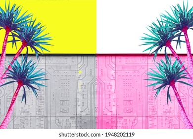 Abstract pink and turquoise palms on a yellow background and a gray building