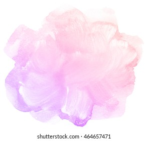 Abstract pink watercolor on white background.This is watercolor stain.It is drawn by hand.