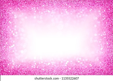 Abstract pink white glitter sparkle confetti background for happy birthday party invite, Christmas, princess baby girl texture, bachelorette sequin poster, girly kid border pattern or wedding frame